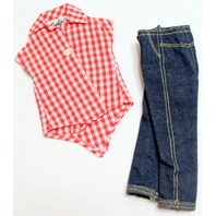 Vintage Barbie Picnic Set 967 Gingham Blouse and Jeans Outfit