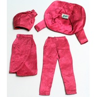 Vintage Barbie Satin N Rose 1611 Fuchsia Pink Outfit Set Jacket Skirt Top Pants