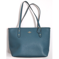 Coach Mini City Zip Tote Bag Handbag Purse in Teal Aqua Color