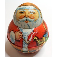 Bristol Ware Roly Poly 6.75' Santa Claus 1980 Tobacco Tin  Advertising