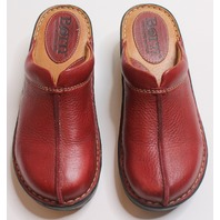 Girls/Teen Born Sz 6 Red Mule Shoes Clogs NWOB Leather Sliip On