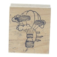 Hot Air Balloon in the Clouds Wooden Rubber Stamp