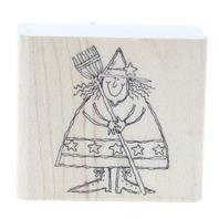 Halloween Witch with a Broom Wooden Rubber Stamp