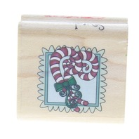 Swirley Holiday Candy Canes Inkadinkado Wooden Rubber Stamp