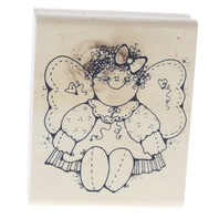Patches Whimsical Angel Girl Hooks Lines and Inkers Wooden Rubber Stamp