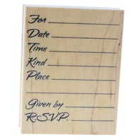 Impressions Original RSVP Invitation Date Time Wooden Rubber Stamp