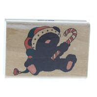 Teddy Bear with Candy Cane Westwater Enterprises Wooden Rubber Stamp