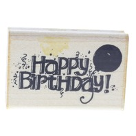 Happy Birthday with Balloon Dots Bold Writing Words Wooden Rubber Stamp