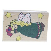 Joy Peac and Love Angel Flying Westwater Enterprises Wooden Rubber Stamp