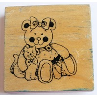 Happy Teddy Bear with a Kitten Kitty Cat Wooden Rubber Stamp