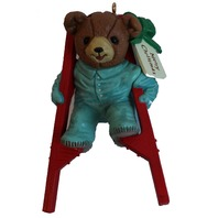 Enesco Teddy Bear in Pjs Pajamas on Stilts Merry Christmas Ornament in Box