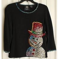 Womens Sz S Small Michael Simon Black Sequin Snowman Sweater