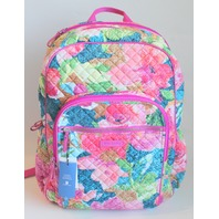 Vera Bradley Iconic Campus Tech Backpack Super Bloom Floral School Bag NWT