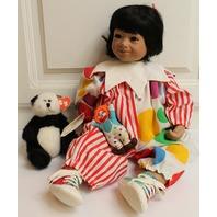 "Julie Good Kruger Doll in original Box 21"" Harlequin with Clown and Panda Bear"