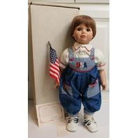 Susan Wakeen Doll Jason in Original Box Patriotic USA Flag Waving American Kid