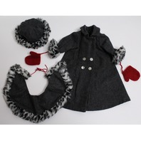 American Girl Nellie's Winter Holiday Coat and Hat Set Rare Retired Leopard Trim