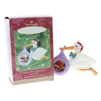 Babies First Christmas Stork Photo Holder Frame Hallmark Keepsake Ornament