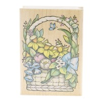 All Night Media 1993 Spring Bouquete in Easter Basket  Wooden Rubber Stamp
