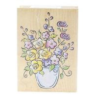 All Night Media Vase of Flowers Garden Botanicals Wooden Rubber Stamp