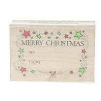 Hero Arts Merry Christmas To From Greeting Gift Tag G 155 Wooden Rubber Stamp