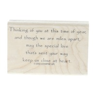Stampin Up Thinking of You Long Distance Close to my Heart Wooden Rubber Stamp