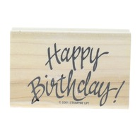 Stampin Up Happy Birthday 2001 Cursive Wooden Rubber Stamp