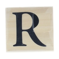 The Letter R in Bold Font Alphabet Wooden Rubber Stamp