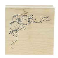 Art Inspirations Balloon Happy Birthday Corner Border Trim Wooden Rubber Stamp