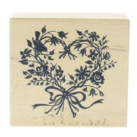 PSX Heart Wreath with Song Bird in Silhouette Wooden Rubber Stamp