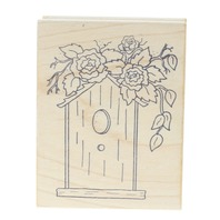 Great Impressions G113 Birdhouse with Rose Blooms Wooden Rubber Stamp