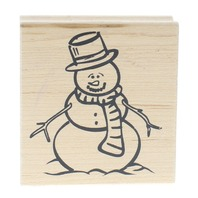 Great Impressions Smiling Snowman with Top Hat Wooden Rubber Stamp
