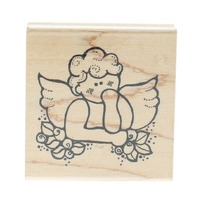 JRL Design Cherub Whimsical Angel with Flowers Wooden Rubber Stamp