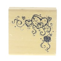 DJ Inkers Hook Willis Curly Heart Corner Border JJ02 Wooden Rubber Stamp