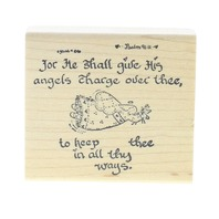 Grubbies Angels shall keep thee in all the Ways Wooden Rubber Stamp
