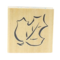Anita's  Fall Leaf Oak Elm Tree Leaf Outline Sketch Wooden Rubber Stamp