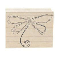 Magenta Whimsical Sketched Dragonfly with curved tail Wooden Rubber Stamp