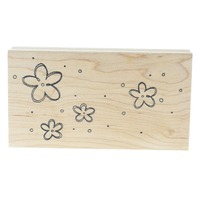 Great Impressions J80 Whimsical Ditsy Daisy Flowers  Wooden Rubber Stamp