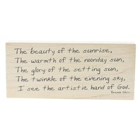 Stamptastic The Artistic Hand of God Quote in Natures Beauty Wooden Rubber Stamp