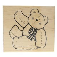 Dots Benson Fluffy Teddy Bear R 138 Wooden Rubber Stamp
