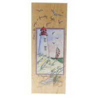 Stamps Happen D Morgan Light House with Sail Boat Nautical Wooden Rubber Stamp