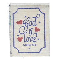 God is Love 1 John 4:8 Bible Quote Writing Wooden Rubber Stamp