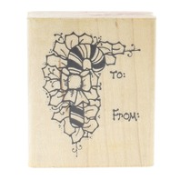 To and From Candy Cane Gift Tag Label Dots 1989 Writing Wooden Rubber Stamp