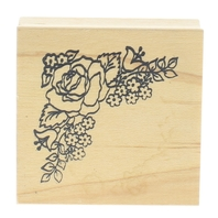 Embossing Arts Rose Flower Corner Border Wooden Rubber Stamp
