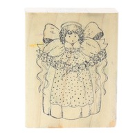 Delafield G704 Angel holding a Flower Vine Swag Wooden Rubber Stamp