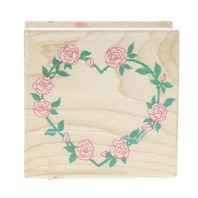 Rose Heart Wreath All Night Media Wooden Rubber Stamp