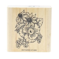 Stampin Up Garden Botanical Floral Arrangement Daisy Wooden Rubber Stamp