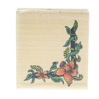 Tropical Floral Corner Border Wooden Rubber Stamp
