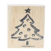 Stampin UP Crayon Sketched Christmas Tree Wooden Rubber Stamp