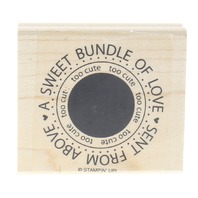 Stampin UP Sweet Bundle of Love Sent from Above Baby Wooden Rubber Stamp