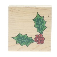 Stampabilities 1999 Holly Berry Corner Border Trim Wooden Rubber Stamp